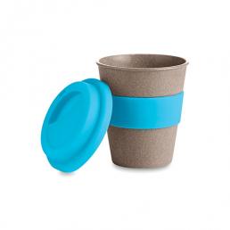 Ce mug publicitaire est fabriqué en fibre de bambou. Sa contenance est de 350 ml. Le couvercle et l'anneau sont en silicone.