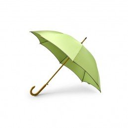 Ce parapluie écologique en bouteilles plastique recyclées (PET) est de type Golf, avec un manche canne et une structure fabriqués en bois.