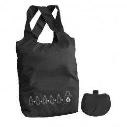 Ce sac shopping pliable, publicitaire et réutilisable est fait en bouteilles plastiques recyclées (100 % PET recyclé pongé). Il peut porter jusqu'à 20 kg.
