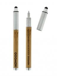 Objet pub écologique : Stylo bille et stylet pour écran tactile en bambou et alu recyclé ; il écrit à l'encre noire avec fonction tactile et porte mine.